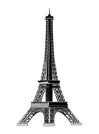 coeur: The Eiffel Tower, illustration. All levels of the tower are on the isolated layers. Isolated on white