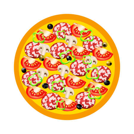 ham and cheese: Pizza with salami, peppers, tomatoes, champignon and olives on a white background. illustration. All elements are located on the isolated layers. Isolated on white Illustration