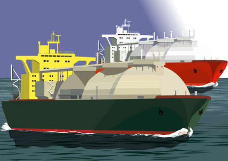 container freight: LNG tankers at the sea, illustration Illustration
