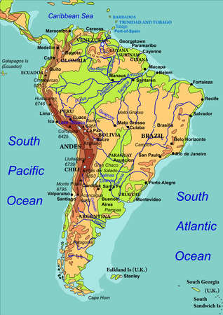 Map of South America. The names of countries, cities and rivers are on the isolated layer. illustration