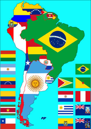 Political map of South America with flags of countries on the map. Flags of countries are on isolated layer. illustration