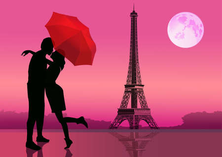 white color: Couple in love, under red umbrella, in Paris. With the Eiffel Tower and moon on background. illustration