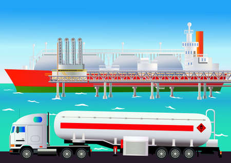 lpg: LNG terminal, with tanker and truck. Flat style. All objects are located on separate levels
