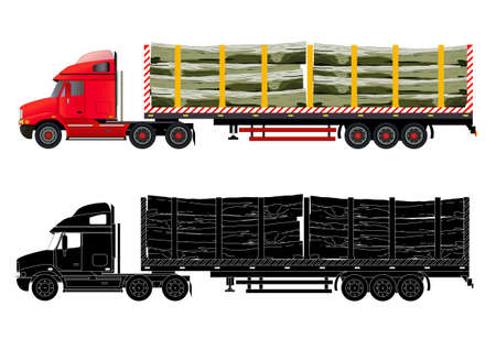 logging: Timber wood truck illustration. Isolated on white. Icon, flat style. Silhouette of heavy transport. Illustration