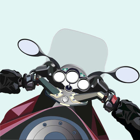 Biker driving a motorcycle. First-person view. All elements are on separate layers.
