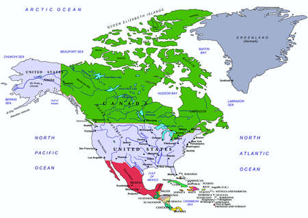 geographical: North America political map, with names of geographical objects.