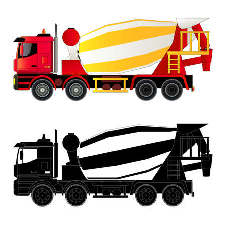truck concrete mixer: Concrete mixer truck illustration. Silhouette, flat style. Isolated on white