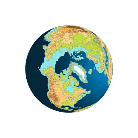 north pole: World Globe. Planet Earth. Arctica. North Pole illustration. Isolated on white Illustration