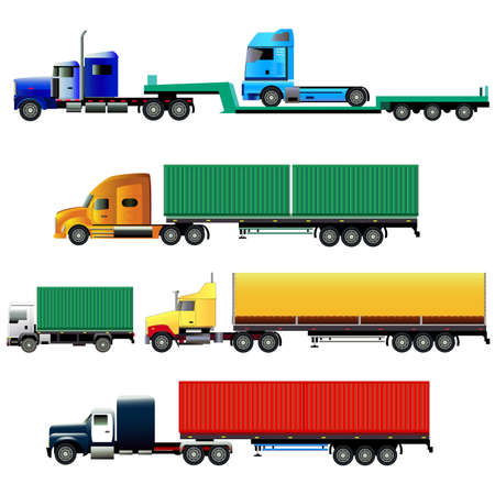 Trucks with trailers of various types. Isolated on white. All vehicles and all trailers are located on separate layers.