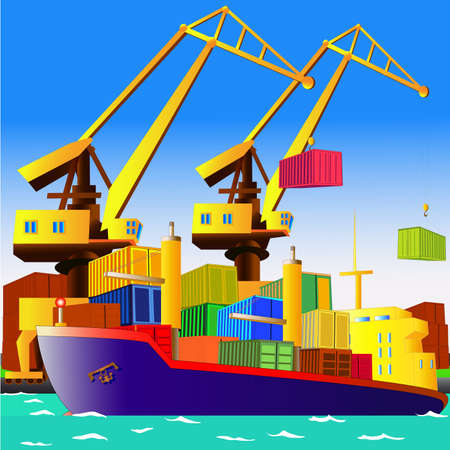 port: Cargo ship with containers in sea port, with cranes on the background. All objects are located on separate layers. Illustration