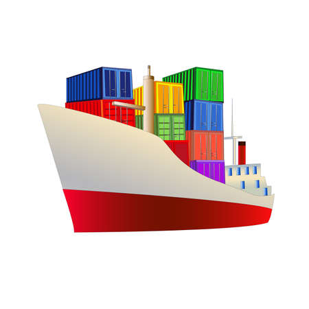 Cargo ship with containers on board. Isolated on white. All objects are on separate layers.