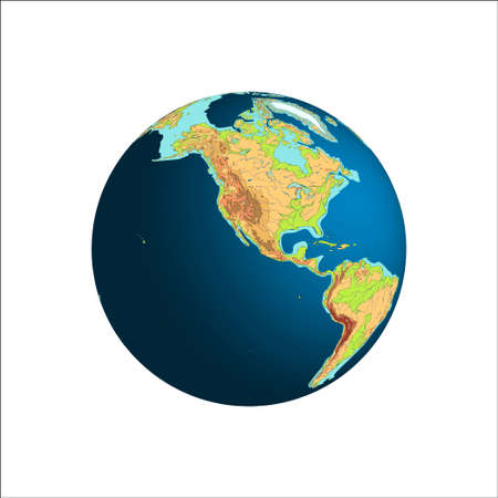 World Globe. Planet Earth. Western hemispheres. South America and North America. Isolated on white Illustration