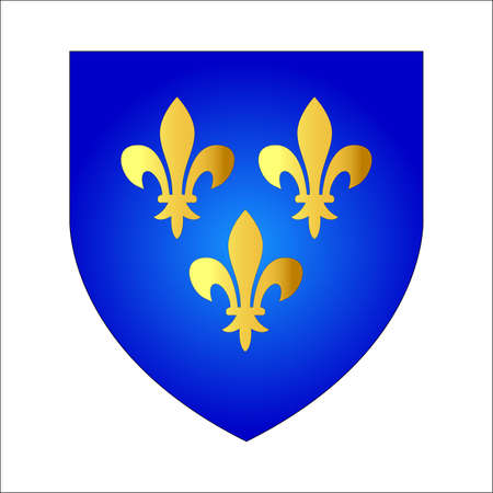 arms: French lily or Fleur-de-lis. Coat of arms of French kings. Heraldic lily on a blue shield. Isolated on white.