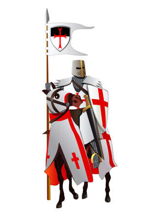 Medieval knight on a horse. Horseback templar. Isolated on white. All pieces of the equipment are on separate layers. Stock Illustratie