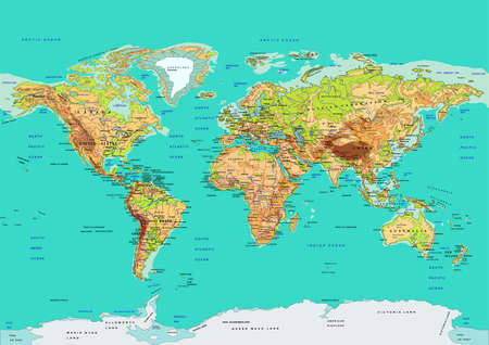Map of the World. Nazwy krajów i miast, kontynentów, granice państwowe znajdują się na osobnych warstwach. Ilustracje wektorowe