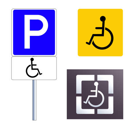 paralyze: Disabled sign icon set. Vector illustration, isolated on white