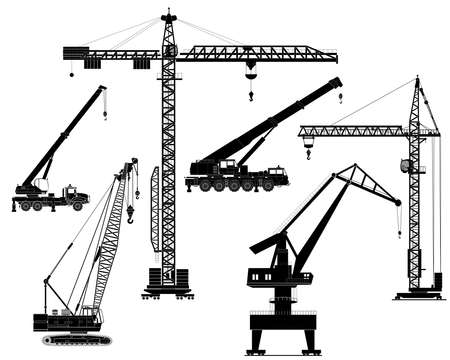 heavy construction: Building construction cranes set isolated on white vector detailed illustration. Icon. Flat style. Silhouette