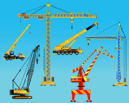 hoisting: Building construction cranes set. Isolated on blue. Detailed vector illustration. Icon. Flat style
