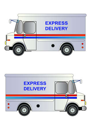 postal service: White postal service truck with express delivery sign. Vector illustration. Isolated on white. Icon. Flat style