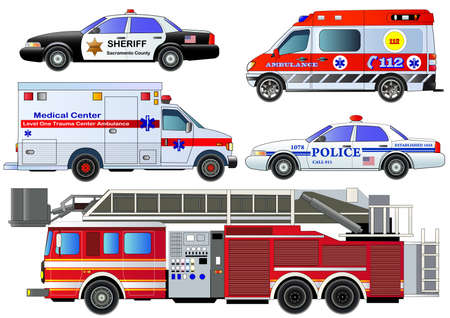 transport Emergency iconen set. Vector set, geïsoleerd op wit. Brandweerwagen, ambulance busjes, politiewagens. vlakke stijl Stock Illustratie