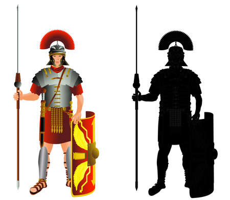 Roman empire legion warrior and silhouette. Legionary infantry. Vector color isolated on white illustration Illustration