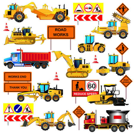 paving: Road construction equipment. Road signs. Big set of ground works machines and vehicles. Loaders, bulldozer, tractor, scraper, grader, asphalt paver and mixer. Vector illustration. Icons. Flat style Illustration