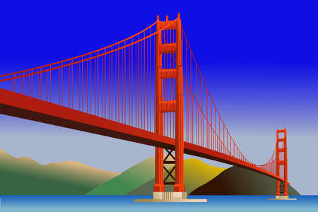 Golden Gate Bridge in San Francisco, vector illustration