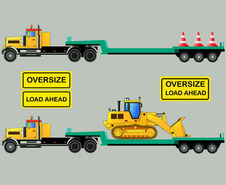 oversize: Oversize load truck with lowbody trailer and loader. Oversize load signs. Vector illustration. Isolated on grey. Icon. Flat style