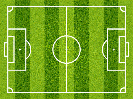 Textured grass football, soccer field. Vector isolated illustration