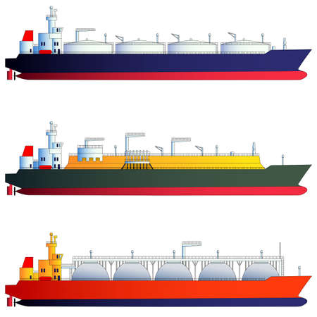 supertanker: Oil tanker and gas tankers, LNG carriers. Vector illustration, isolated on white. Flat style, side-view silhouettes