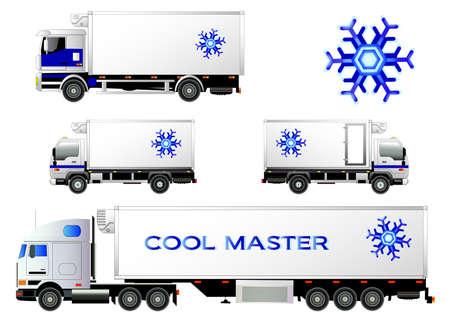 Refrigerator trucks set, vector illustration. Snowflake symbol, logo. Isolated on white. Icon. Flat style Logó