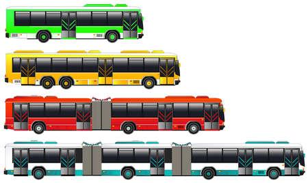 Transport Autobusy miejskie ustawione. ilustracji wektorowych. Podwójne ikony przegubowy autobus. Pojedynczo na białym. Płaski stylu