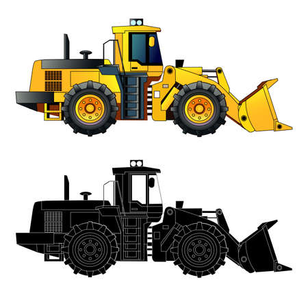 earth mover: Wheel loader, heavy equipment and machinery. Detailed vector illustration. Isolated on white. Icon. Flat style. Silhouette