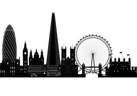 London city skyline silhouette, vector illustration. Isolated on white