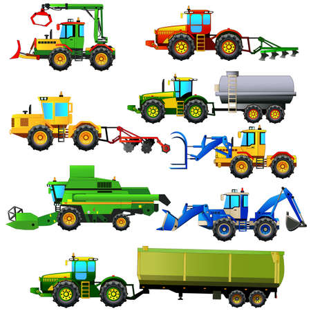 agriculture machinery: Vector set of agricultural vehicles and farm machines. Tractors, harvesters, combines. Agriculture machinery. Vector illustration. Isolated on white. Icon. Flat style Illustration