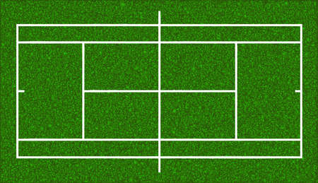view from above: Tennis court. Realistic textured grass. Vector isolated illustration
