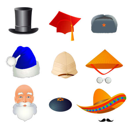 Set of hats, from different professions and nations. Vector illustration. Illustration