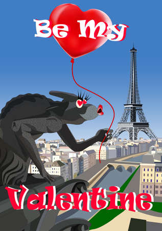 The loving gargoyle of Notre Dame on the backdrop of Paris and Eiffel Tower. Vector illustration. Card Valentines Day. All elements are on separate layers