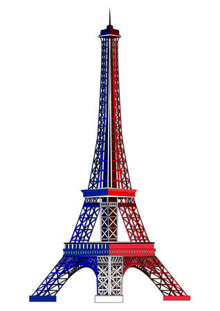 Eiffel tower, painted in the colors of the national flag of France. Vector illustration. Isolated on white