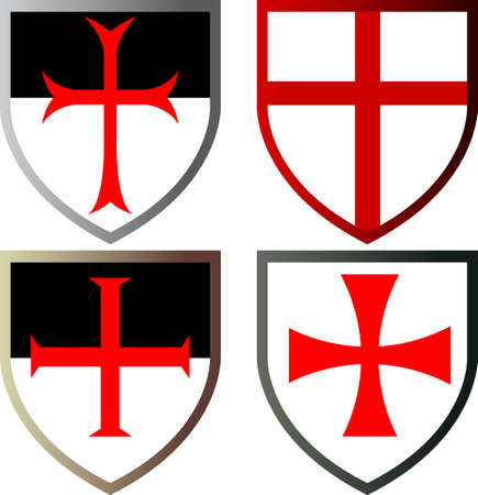 Shields of Templar Knights. Cross of the Templars. Isolated on white. Vector illustration