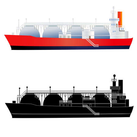LNG gas tanker. Flat style and silhouette. Isolated on white. Vector illustration