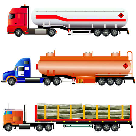 oil and gas industry: Set of trucks. Big fuel gas truck, LNG transporter and timber wood truck. Vector illustration. Flat style, silhouettes. Isolated on white Illustration