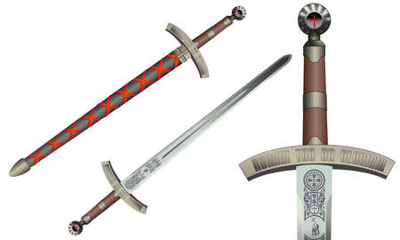 iron and steel: Medieval sword, vector illustration, isolated on white. Templar engravings. Illustration