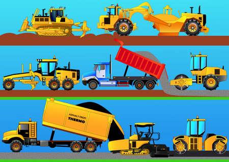 Wegwerkzaamheden. Wegwielen, asfaltbetonmolen, bulldozer, nivelleermachine, tractorschraper en vrachtwagen die een weg construeren. Gedetailleerde vectorillustratie