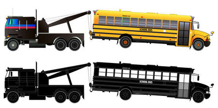 Tow truck transports broke down school bus. Side view. Vector illustration. Flat style. Isolated on white Illustration