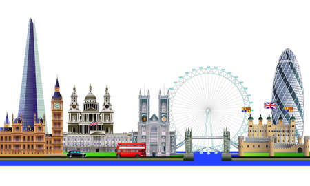 London city skyline abstract vector color illustration. Isolated on white