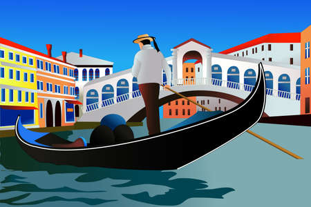 Canal Grande and Rialto Bridge in Venice, Italy. Vector color illustration