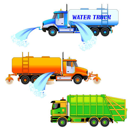 maintenance work: Street cleaning machines spraying water, sweeper truck and garbage truck, vector illustration. Set. Isolated on white. Icon. Flat style