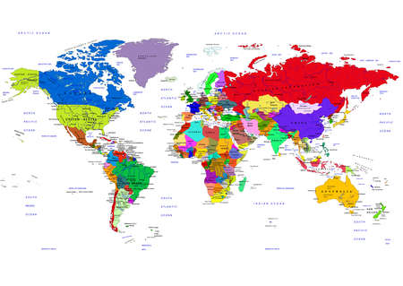 World map countries names stock photos royalty free world map world map countries vector illustration the names of countries and cities are located on publicscrutiny Choice Image