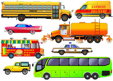 fare: Vector set of various city urban traffic, isolated on white. Vehicles icons of modern tour bus, vintage car, post delivery van, school bus, SUV, cleaning truck, fast food van, police car. Flat style Illustration